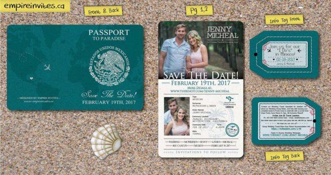 passport save the date STD destination wedding invitations