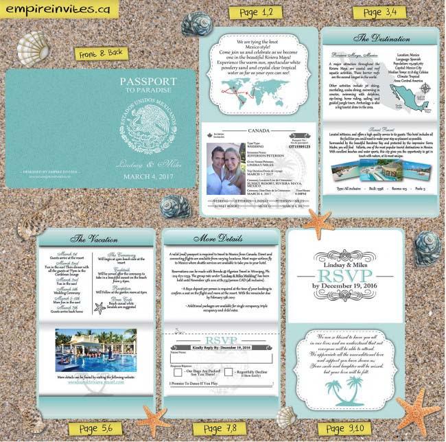 Passport Wedding Invitations blue