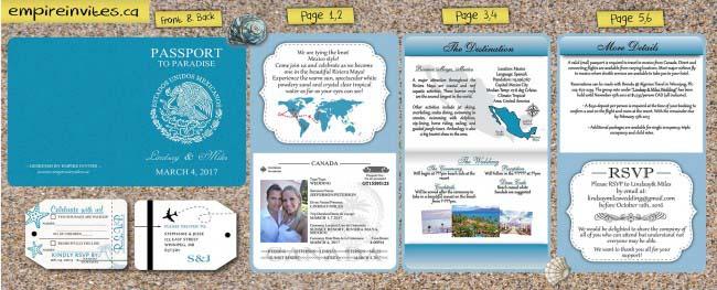 6 page passport wedding invite