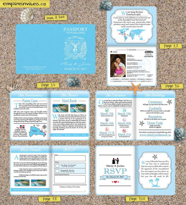 Passport Wedding Invitations blue