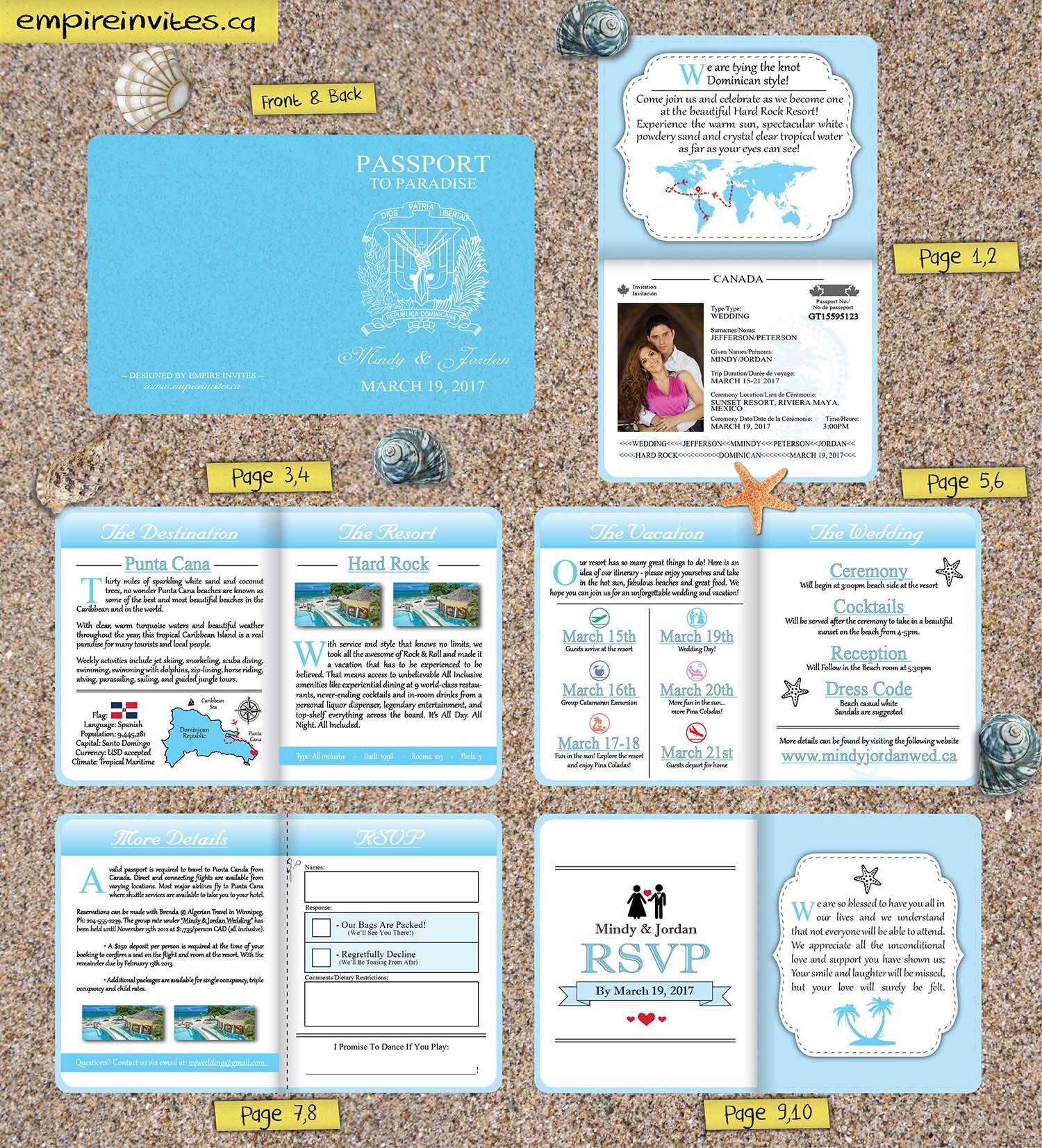 Wedding Invitation Envelopes Canada: Custom Destination Passport Wedding Invitations From