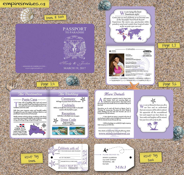 Custom 6-page passport wedding invites Canada | Empire Invites