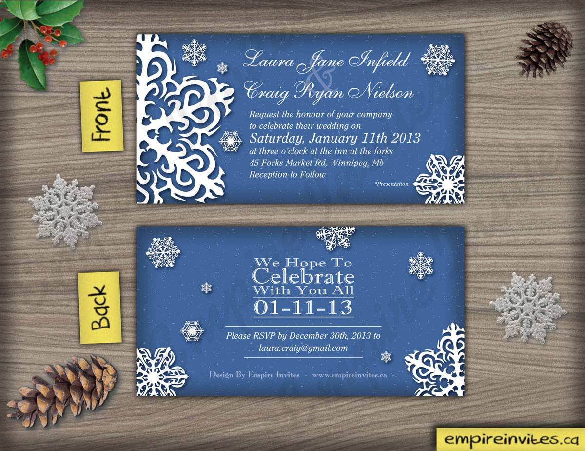 Custom Snowflake Wedding Invitations Canada Empire Invites Winnipeg