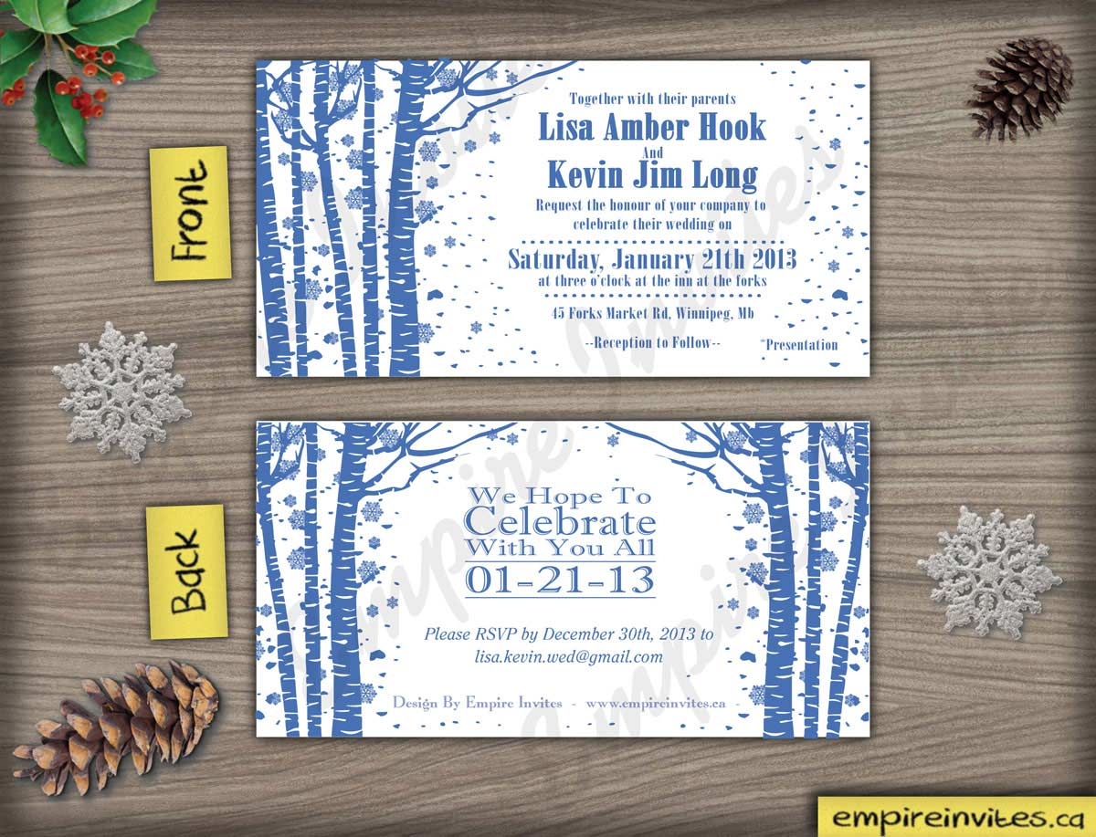 Custom winter birchtree wedding invitations From Winnipeg, Canada ...