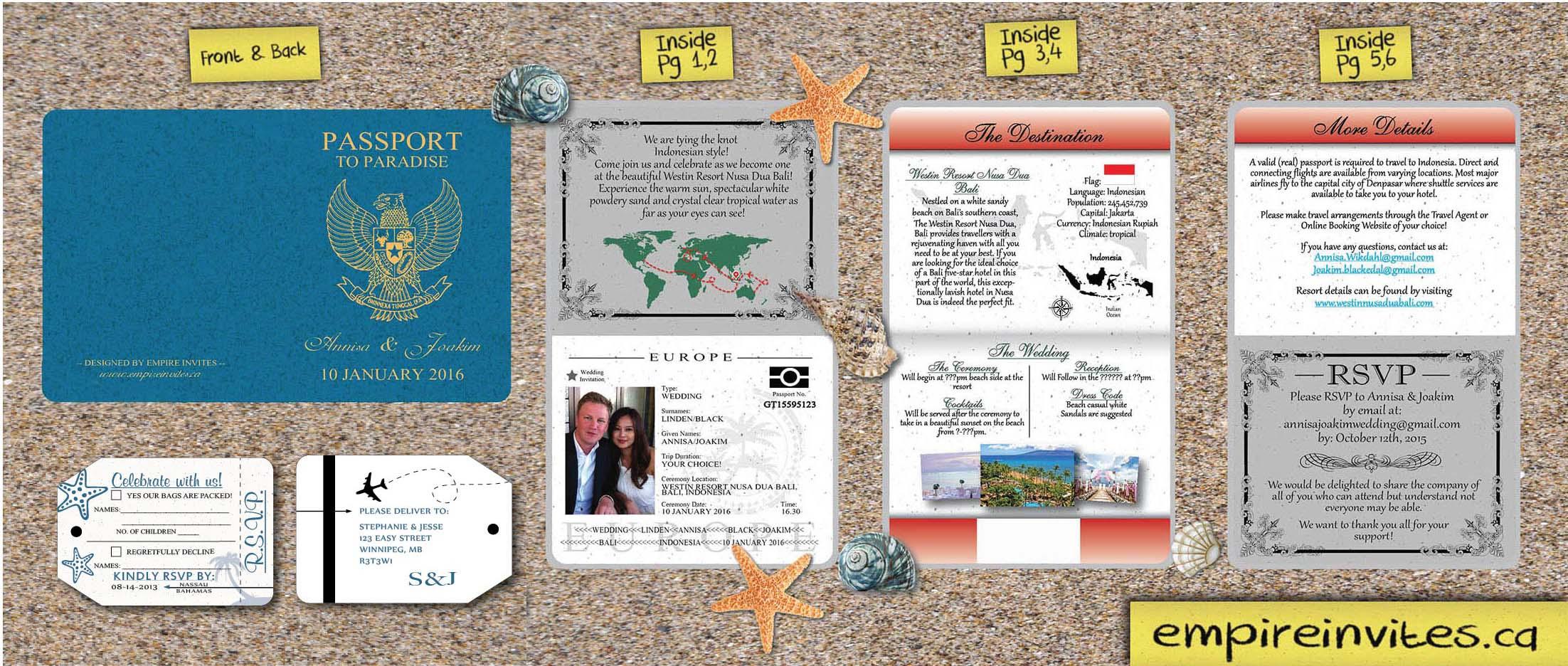 Custom handmade passport wedding invitations 6-page Canada | Empire ...