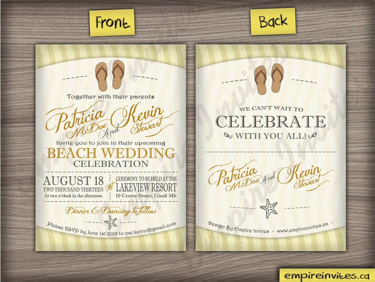 Custom Beach wedding invitations From Winnipeg Canada EMPIRE INVITES