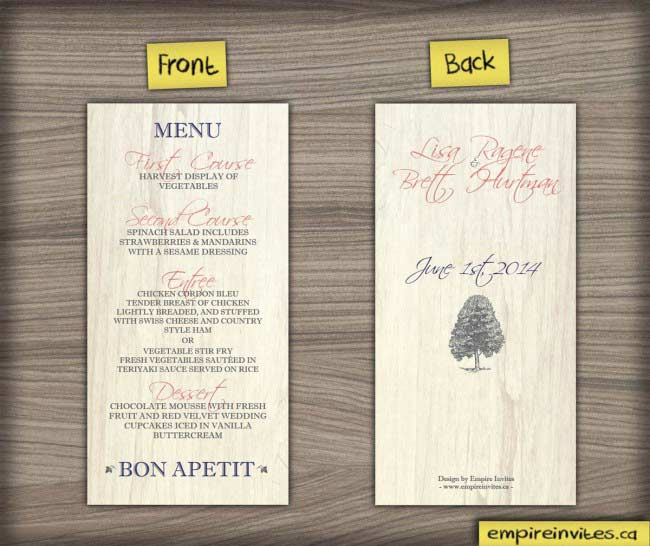 Birch Rustic wedding Menu