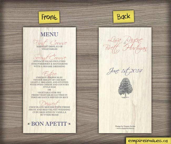 Birch Rustic wedding Menu