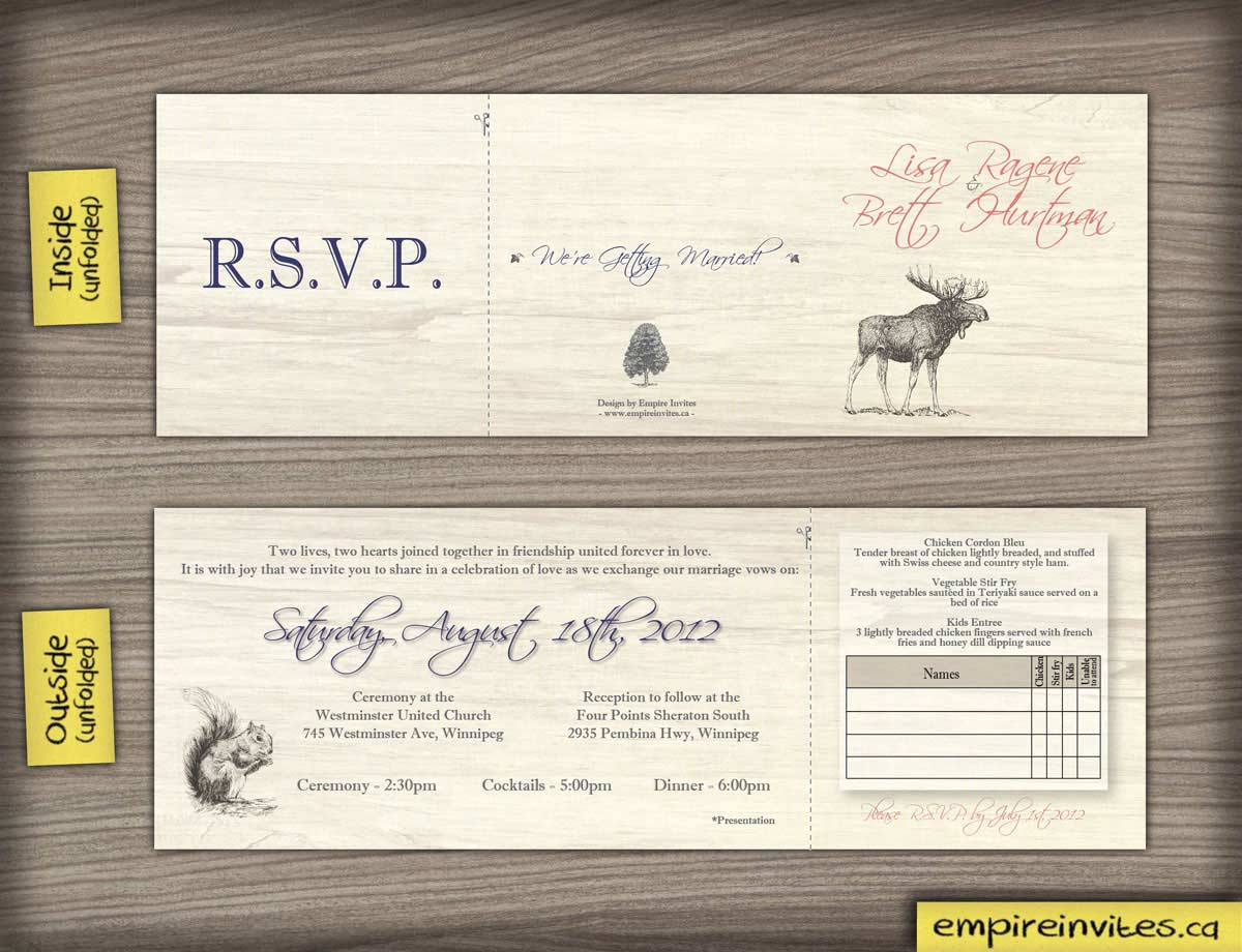 custom rustic wedding invitations from winnipeg canada With tri fold wedding invitations canada