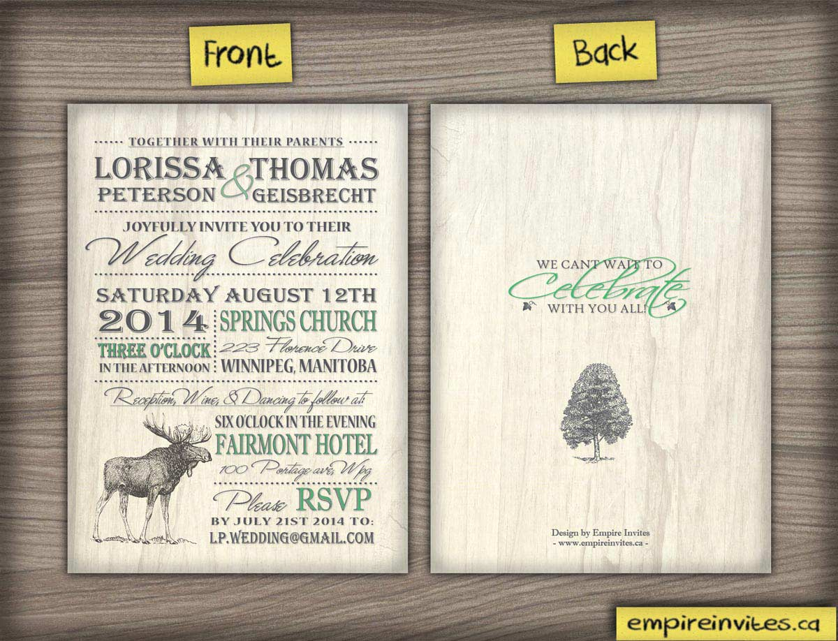 Wedding Invitation Envelopes Canada: Custom Nature Rustic Wedding Invitations From Winnipeg