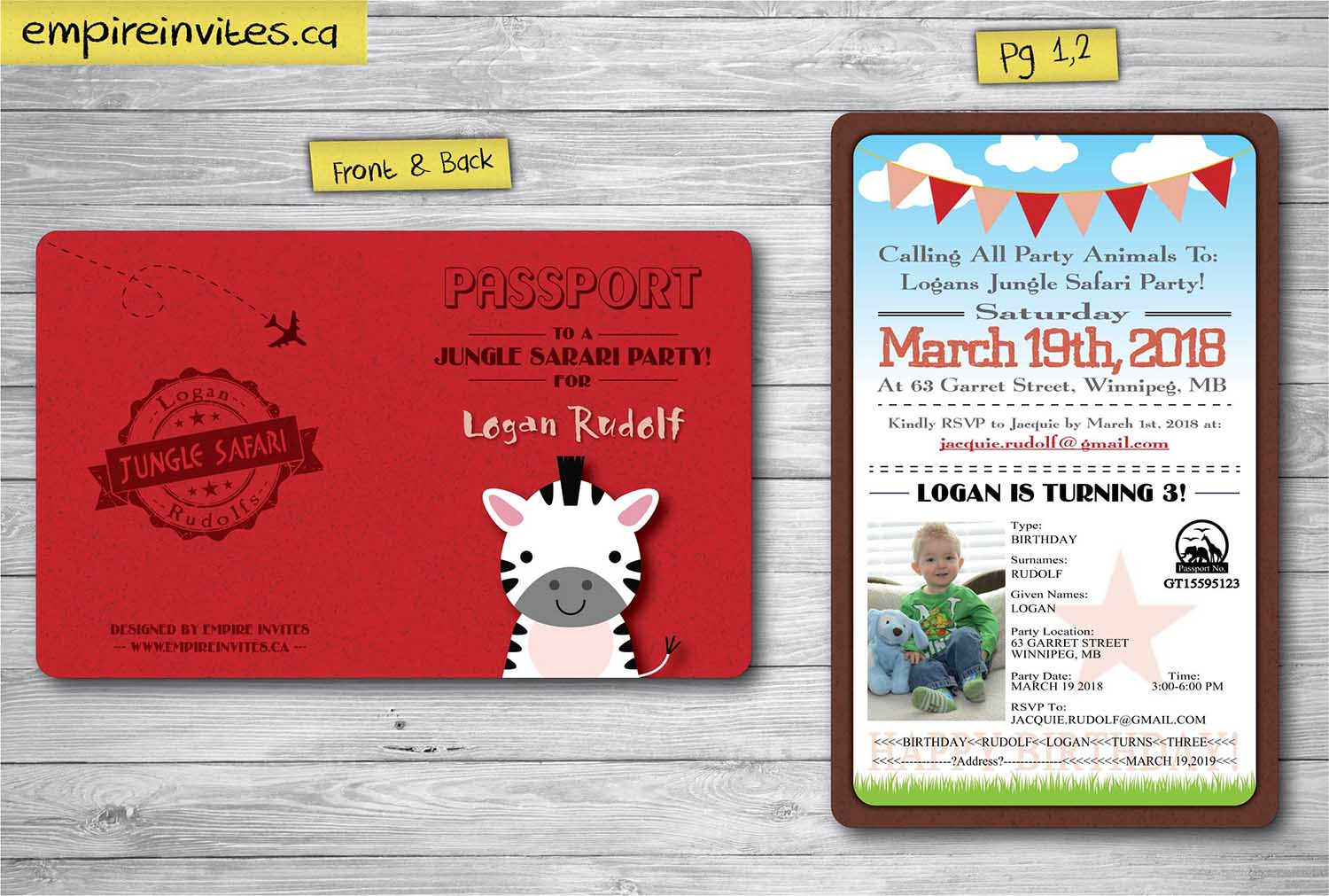 Custom birthday safari passport invitations Canada | Empire Invites