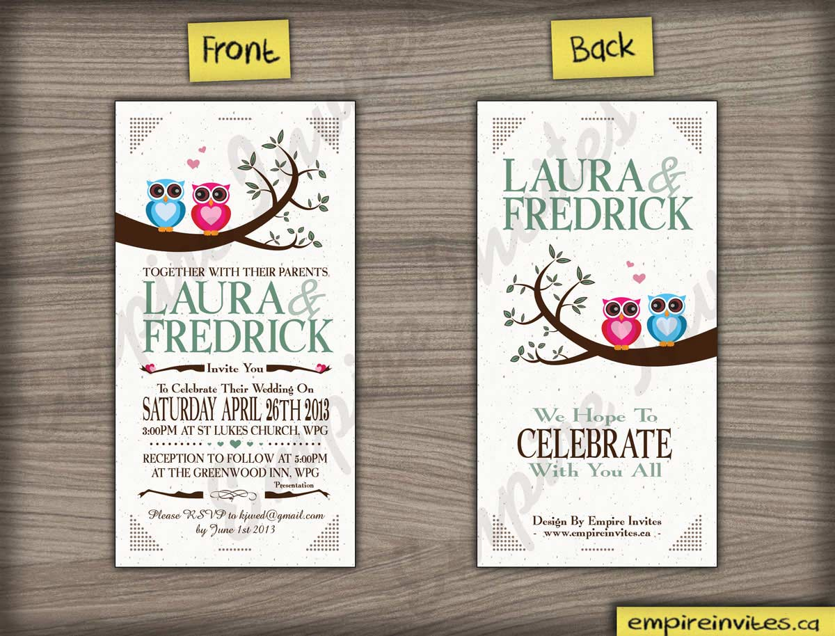 Custom owl wedding invitations Canada | Empire Invites