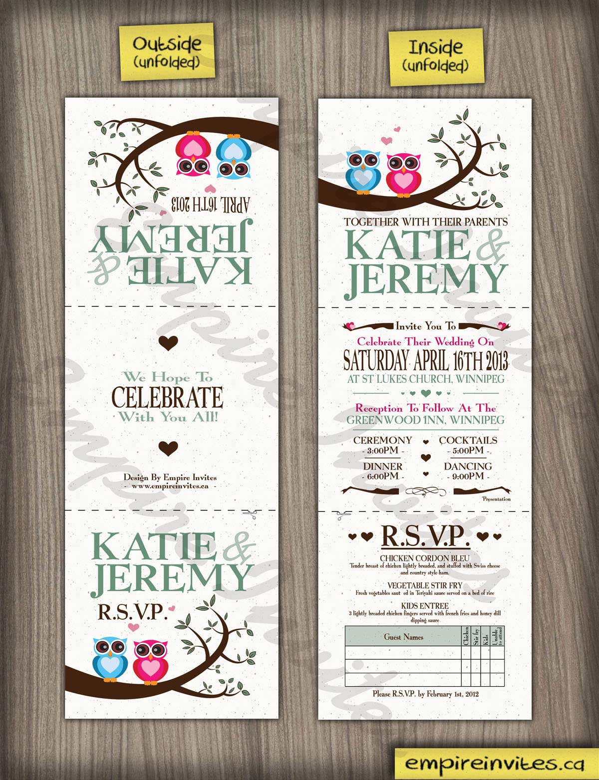 Custom owl wedding invitations From Winnipeg, Canada - EMPIRE INVITES