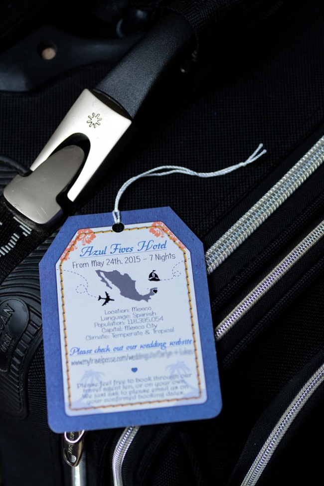 Back of luggage tag wedding invitation
