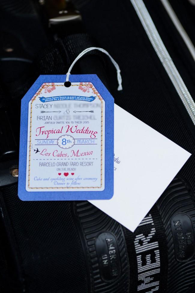 Blue Luggage Tag Wedding Invitation w/ envelope
