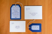 Blue Luggage Tag Wedding Invitations to Sheraton Bijao, Panama