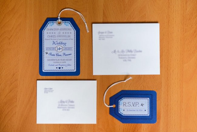 Top View Luggage Tag RSVP card and envelopes