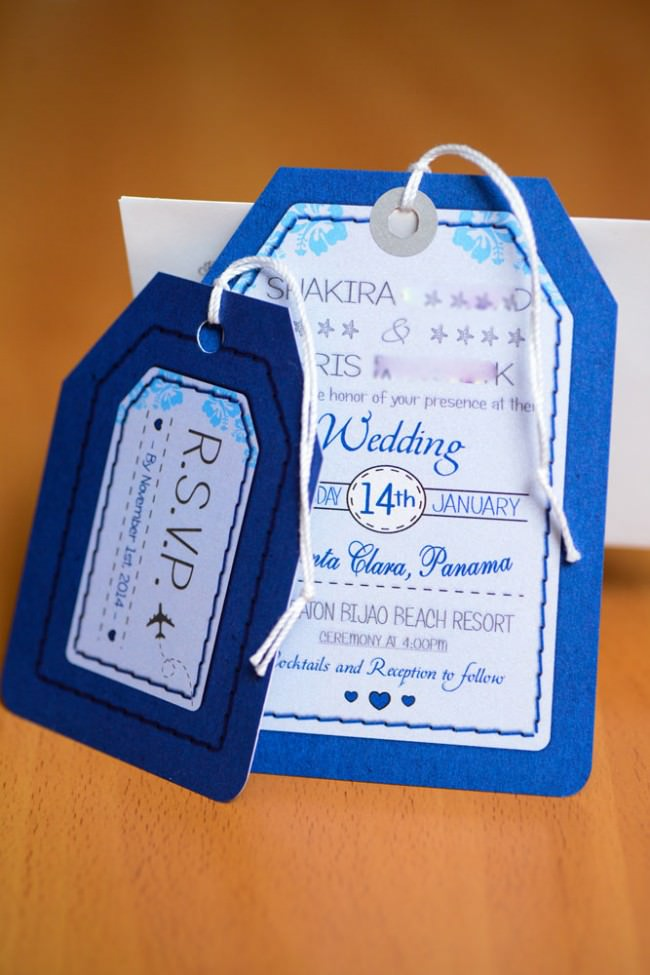standing invite and rsvp card with string