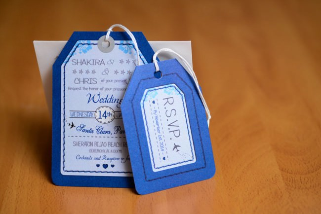 Blue Luggage Tag Wedding Invitations Bijao Resort Panama (3)