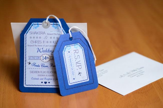 Blue Luggage Tag Wedding Invitations Bijao Resort Panama (4)