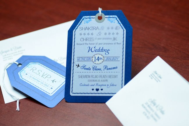 Blue Luggage Tag Wedding Invitations Bijao Resort Panama (5)