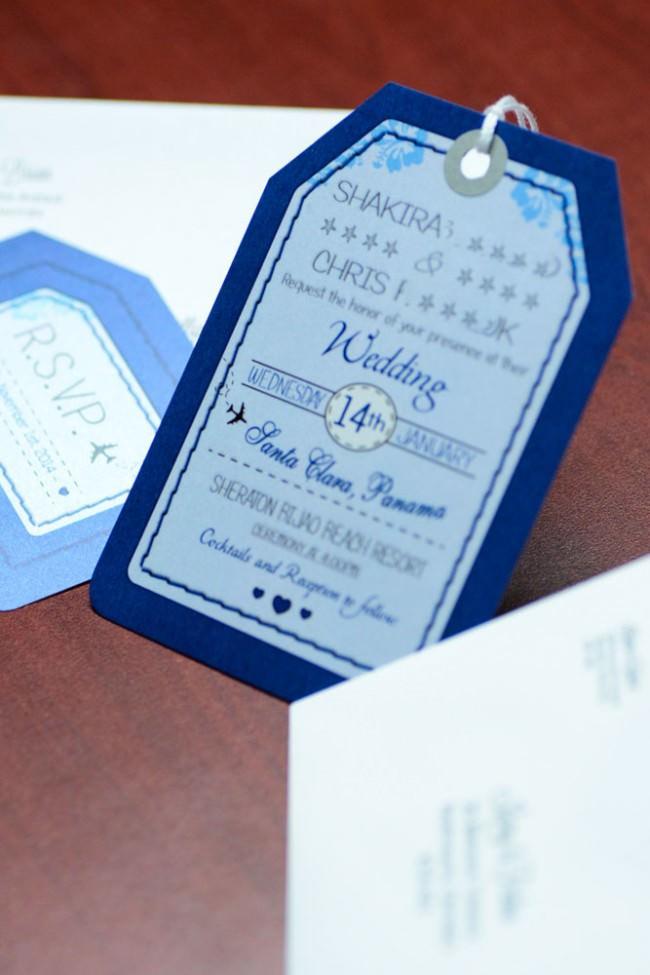 Blue Luggage Tag Wedding Invitations Bijao Resort Panama (6)