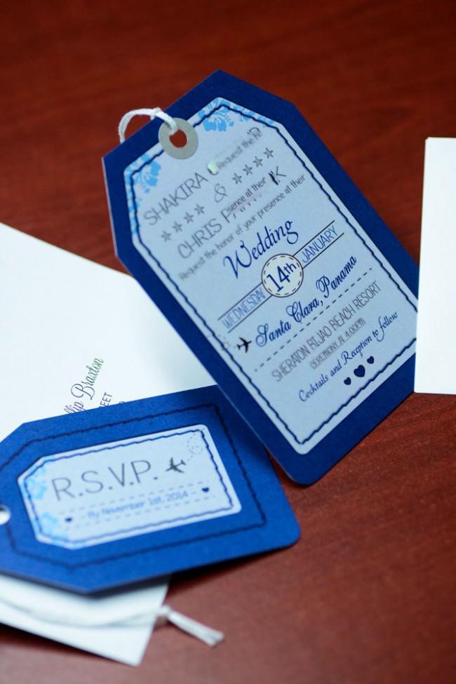 Blue Luggage Tag Wedding Invitations Bijao Resort Panama (7)
