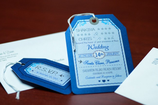 Blue Luggage Tag Wedding Invitations Bijao Resort Panama (8)