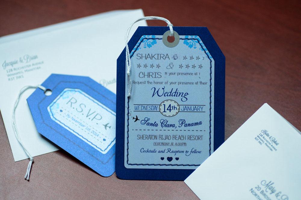 Blue Luggage Tag Wedding Invitations To Sheraton Bijao Panama