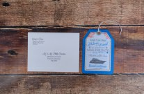 Blue Luggage Tag Save The Date Cards for a Caribbean Cruise