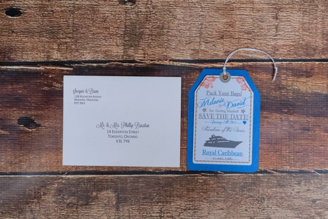 luggage tag and envelope