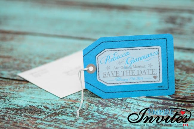 luggage tag save the date with envelopes