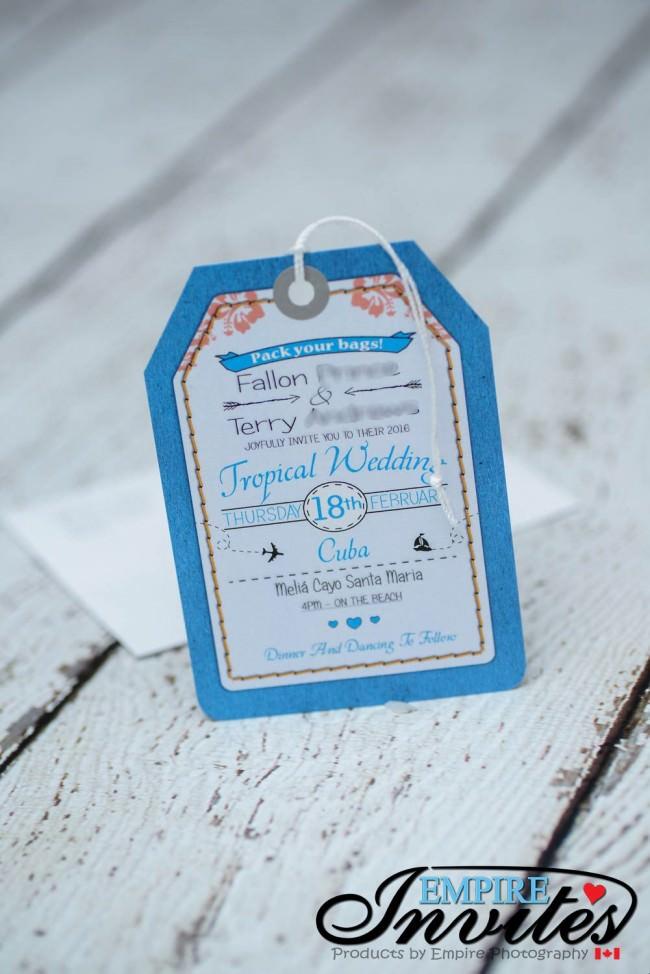 Blue Luggage tag wedding invitations Melia Cayo Santa Maria Cuba (1)