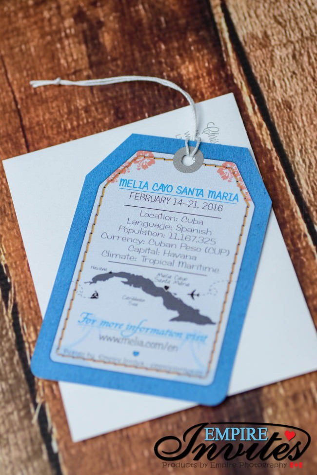 Blue Luggage tag wedding invitations to Melia Cayo Santa Maria Cuba