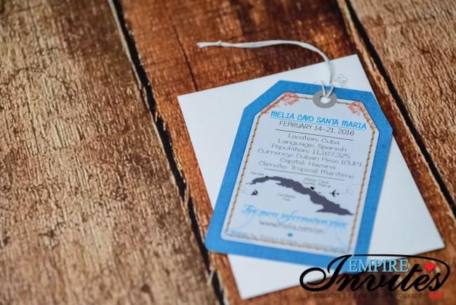 Blue Luggage tag wedding invitations Melia Cayo Santa Maria Cuba (3)