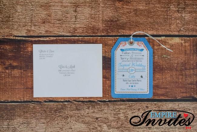 Blue Luggage tag wedding invitations Melia Cayo Santa Maria Cuba (4)