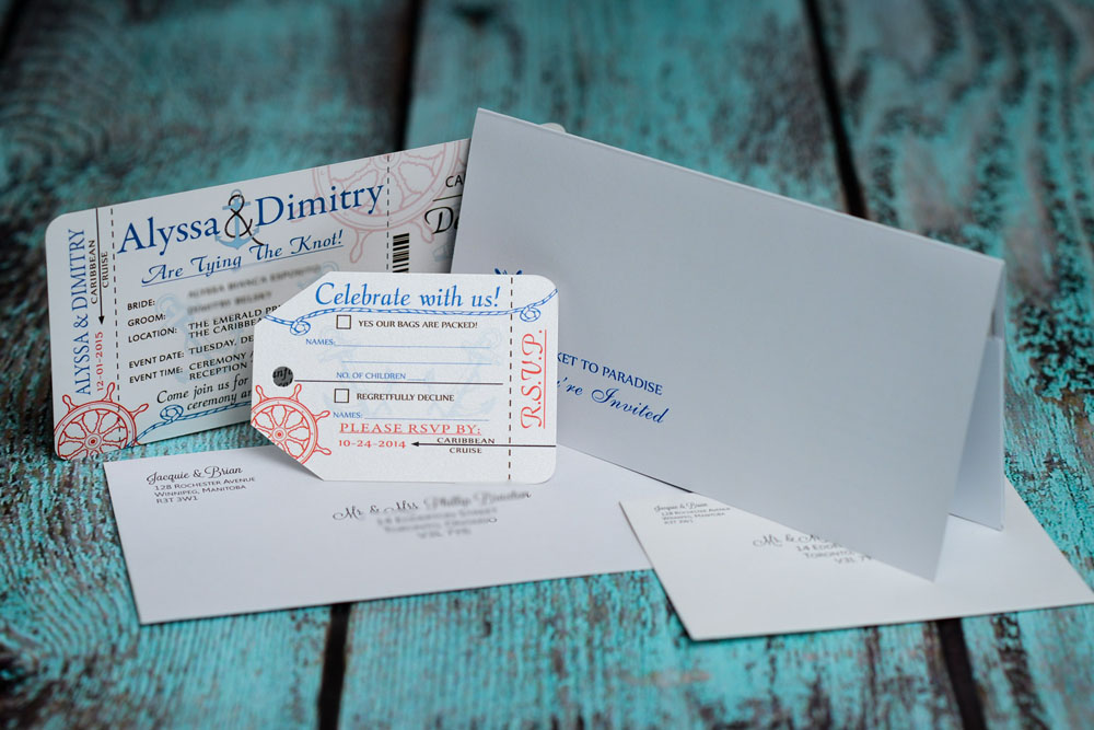 Nautical Boarding Pass Wedding invitations for Emerald Princess ...