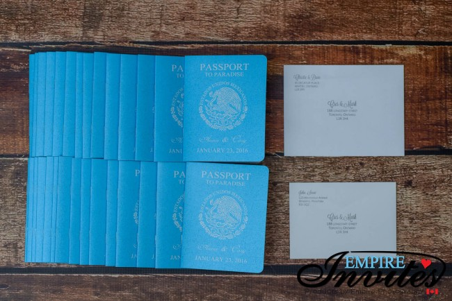 blue passport invites with printed envelopes