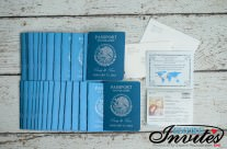 Blue Passport wedding invitations to moon palace mexico