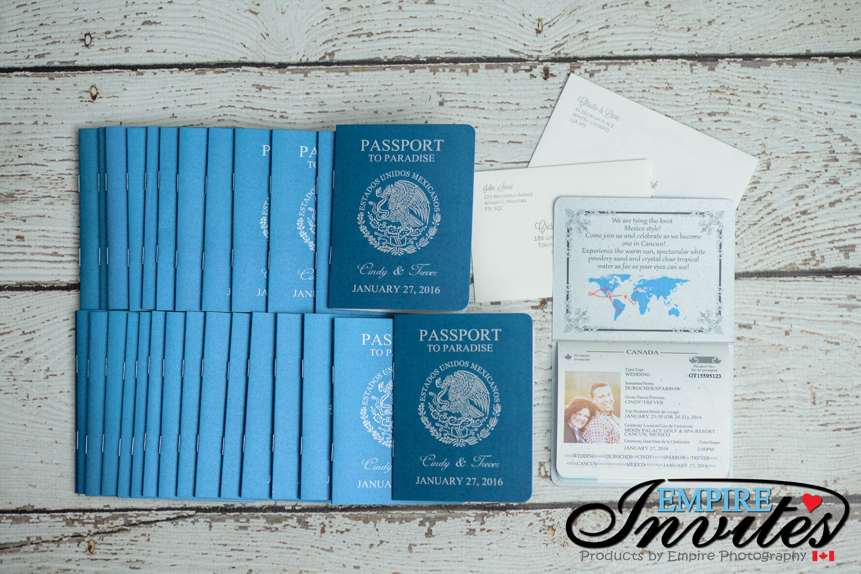Blue Passport wedding invitations to moon palace mexico | EMPIRE INVITES