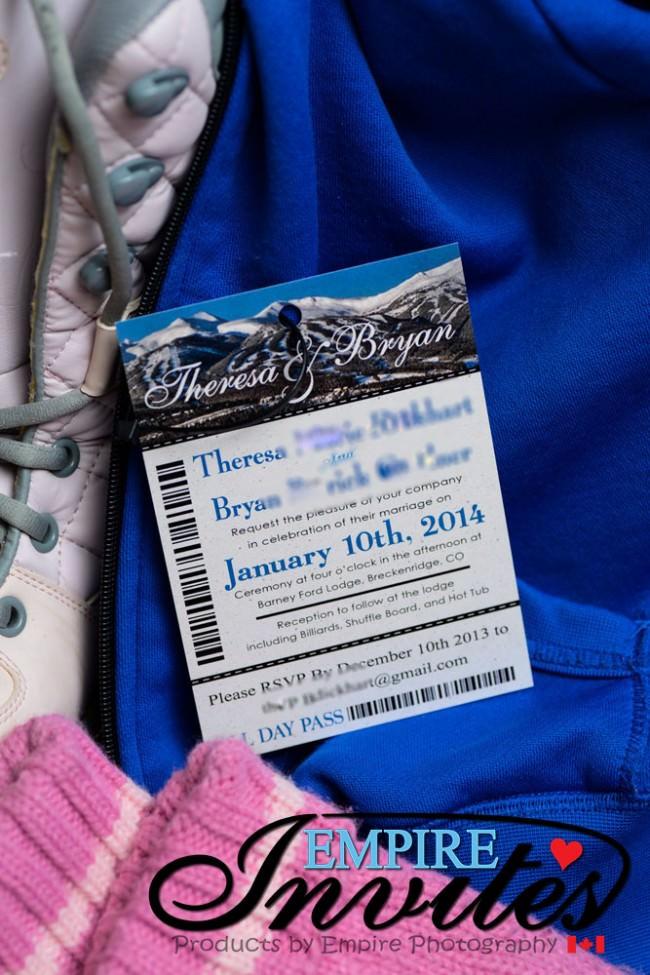 Blue Ski Pass Wedding Invitation To Barney Ford Lodge Colorado