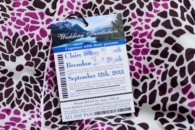 Ski pass wedding invite with zip tie
