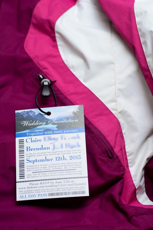 ski pass on snowboard jacket