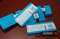 Blue Boarding Pass Invitations to Grand Palladium White Sands, Mexico