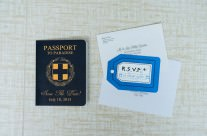 Blue Greek Passport Save The Date Cards to Lefkada, Greece