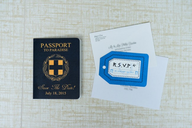 top view includes passport rsvp and envelopes