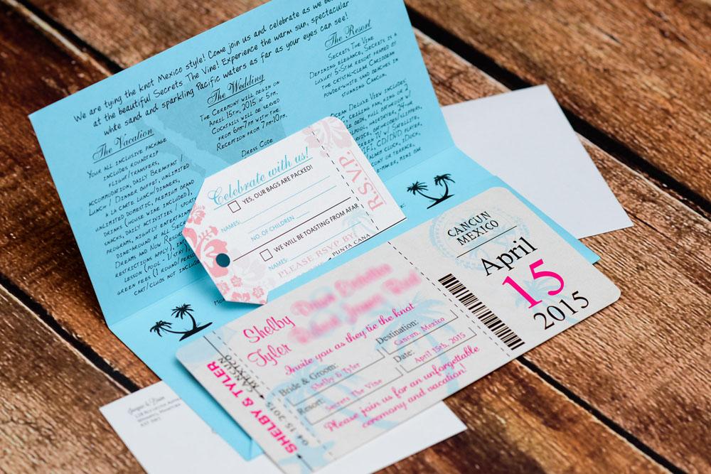 Boarding Pass Wedding Invitation: Pink Boarding Pass Wedding Invitations To Secrets The Vine