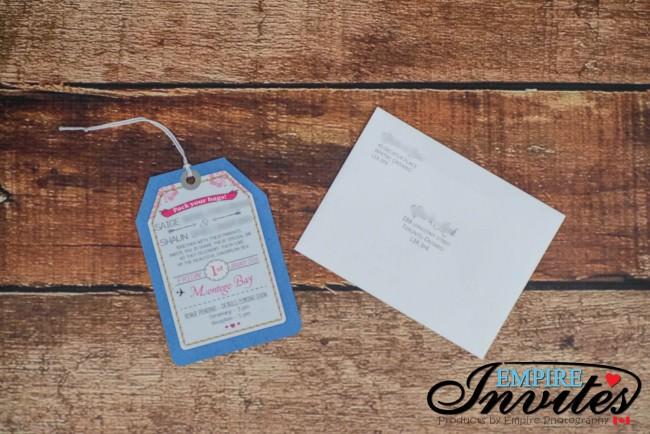 Blue pink luggage tag wedding invitations Jamaica (1)