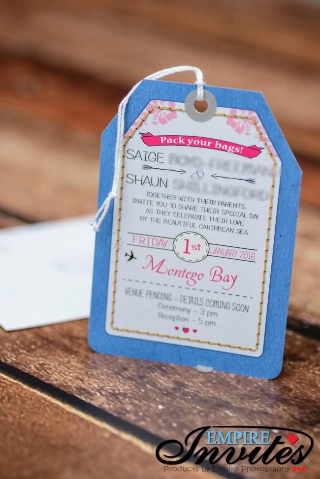 Pink luggage tag wedding invitations to montego bay jamaica blue pink luggage tag wedding invitations jamaica 2 stopboris Choice Image