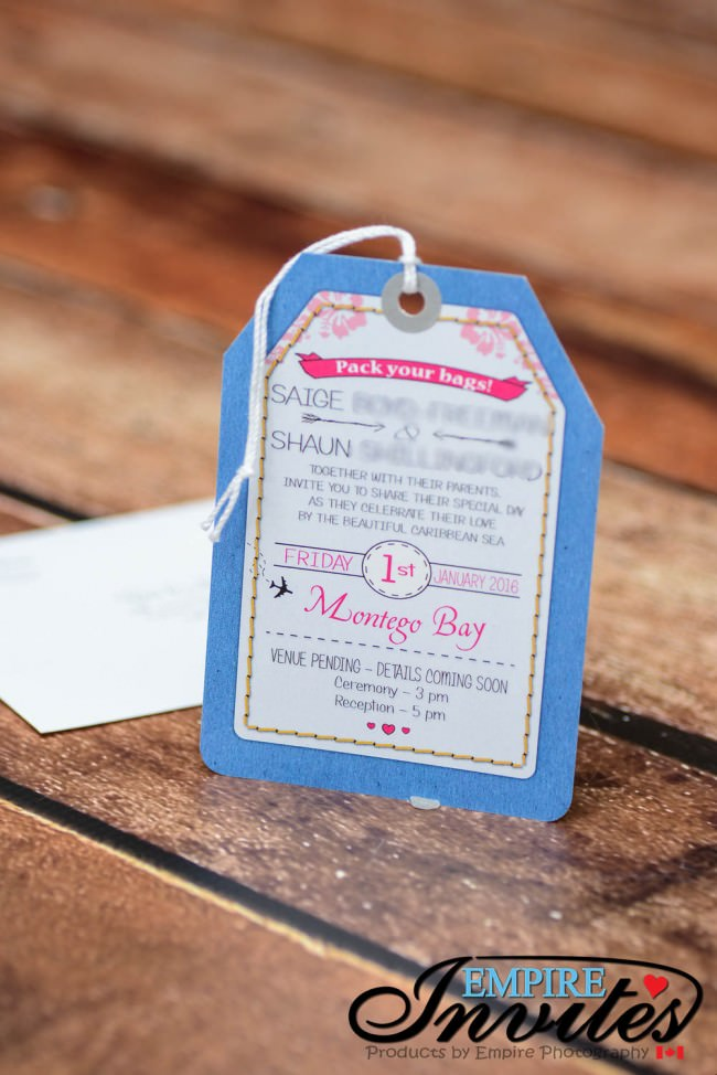 Blue pink luggage tag wedding invitations Jamaica (3)